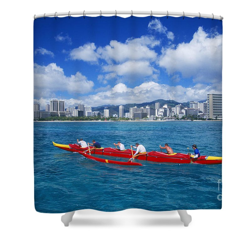 Afternoon Shower Curtain featuring the photograph Canoe Race by Dave Fleetham - Printscapes