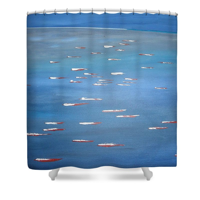 Abstract Shower Curtain featuring the painting Canoe Race In Huahine by Solenn Carriou