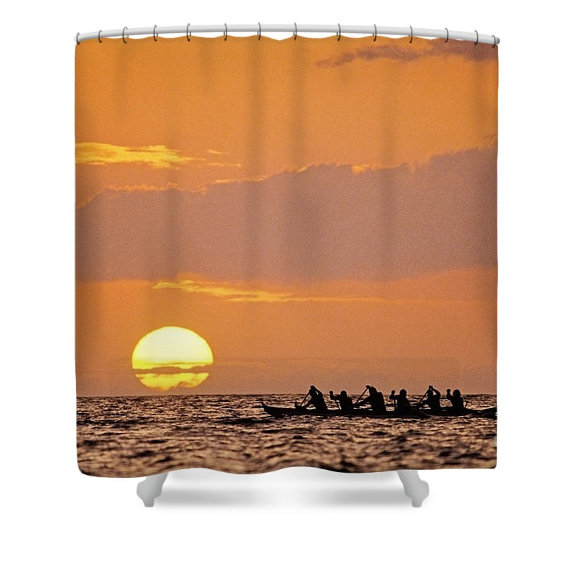 Anaehoomalu Shower Curtain featuring the photograph Canoeing At Sunset by Greg Vaughn - Printscapes