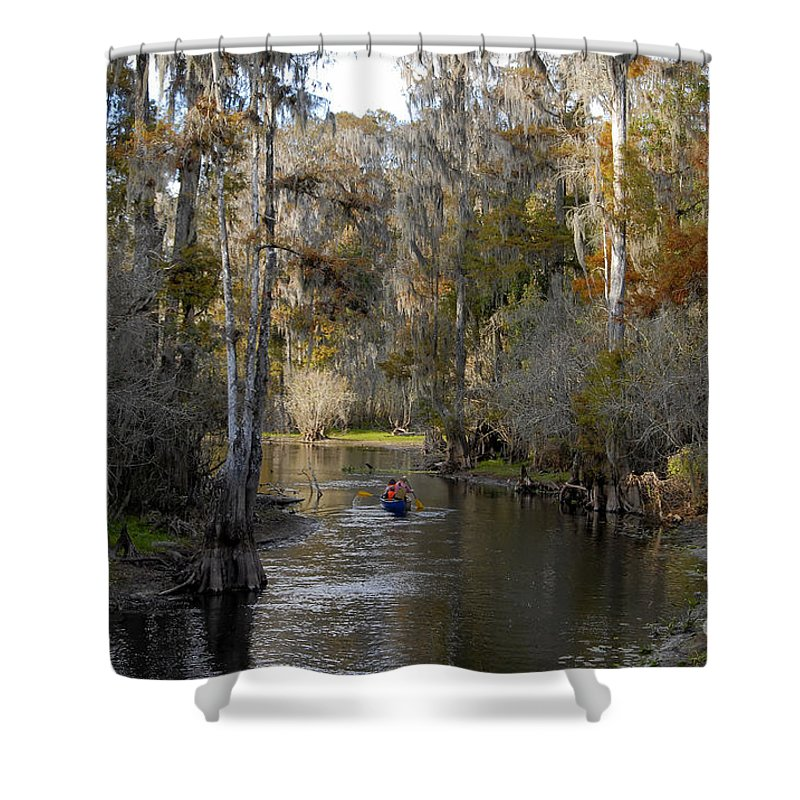 Family Shower Curtain featuring the photograph Canoeing In Florida by David Lee Thompson