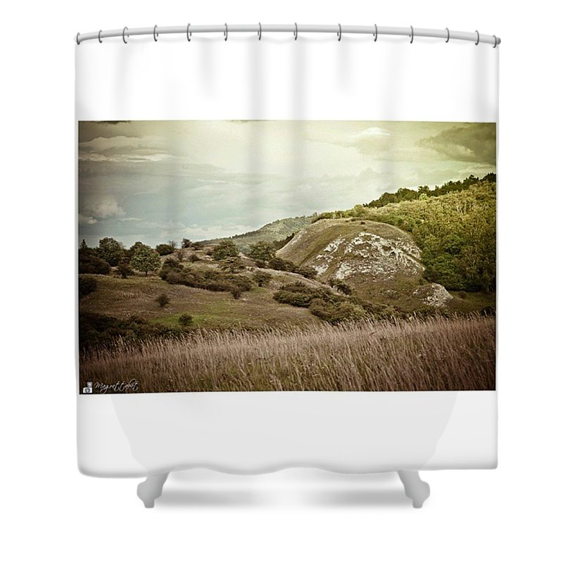 Kyffhaeuser Shower Curtain featuring the photograph #canon #clouds #sky #kyffhaeuser by Mandy Tabatt