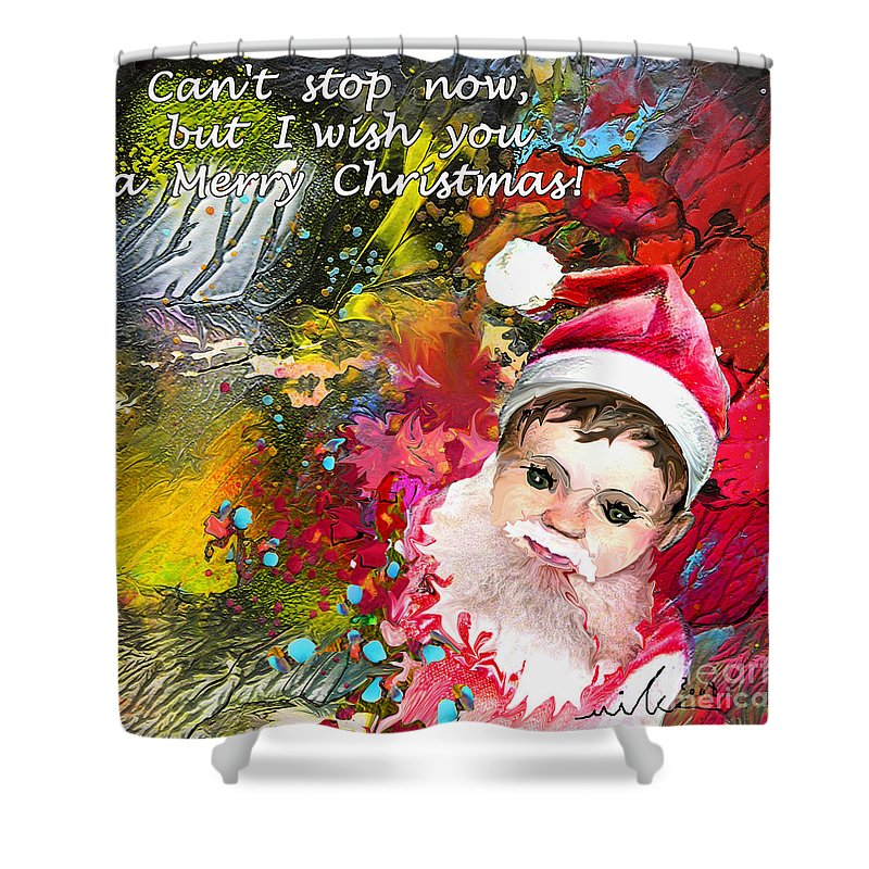 Santa Baby Painting Shower Curtain featuring the painting Cant Stop Now by Miki De Goodaboom