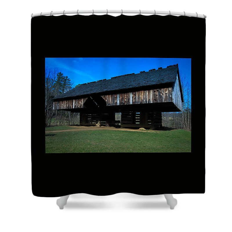 Cades Cove Shower Curtain featuring the photograph Cantilever Barn by Susan Harris