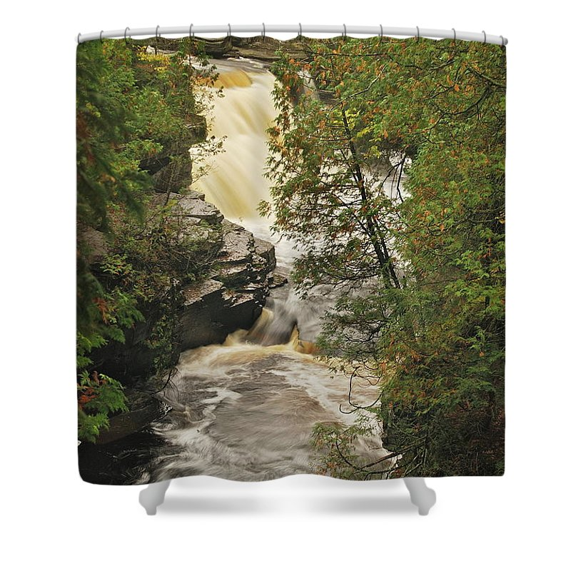 Michigan Shower Curtain featuring the photograph Canyon Falls 2 by Michael Peychich
