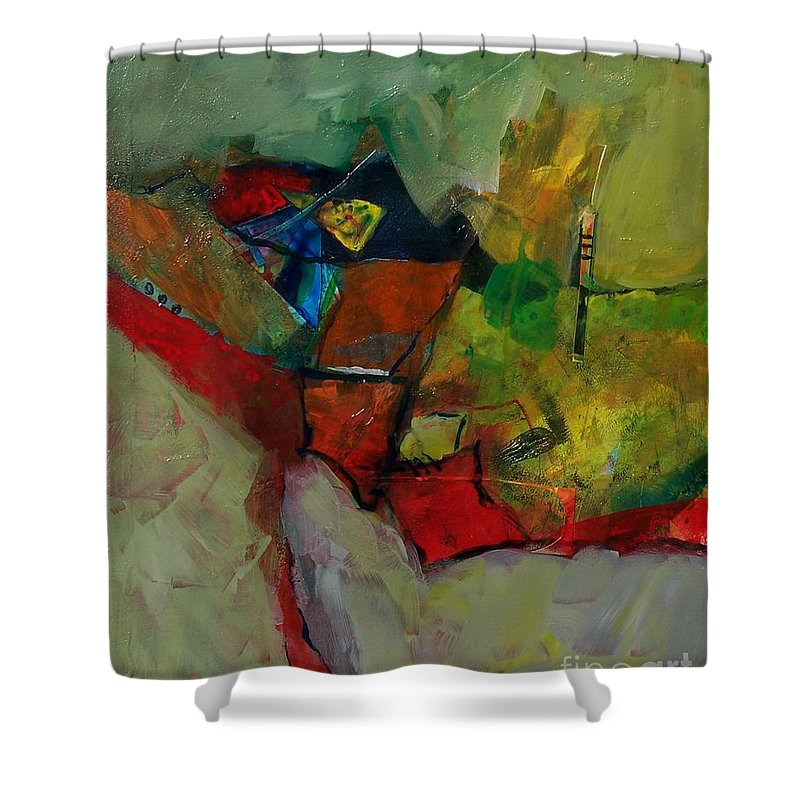 Abstract Expressionism Shower Curtain featuring the painting Canyon Gems by Donna Frost