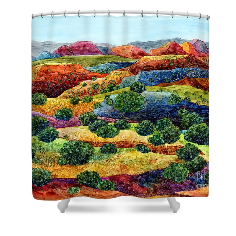 Canyon Shower Curtain featuring the painting Canyon Impressions by Hailey E Herrera