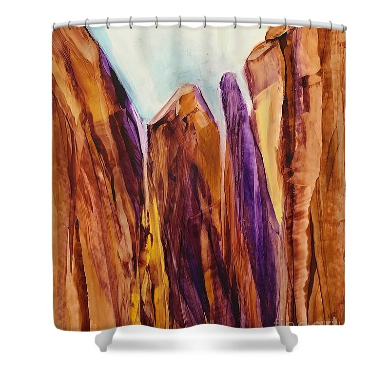 Shower Curtain featuring the painting Canyon Splendor by Jan Phillips