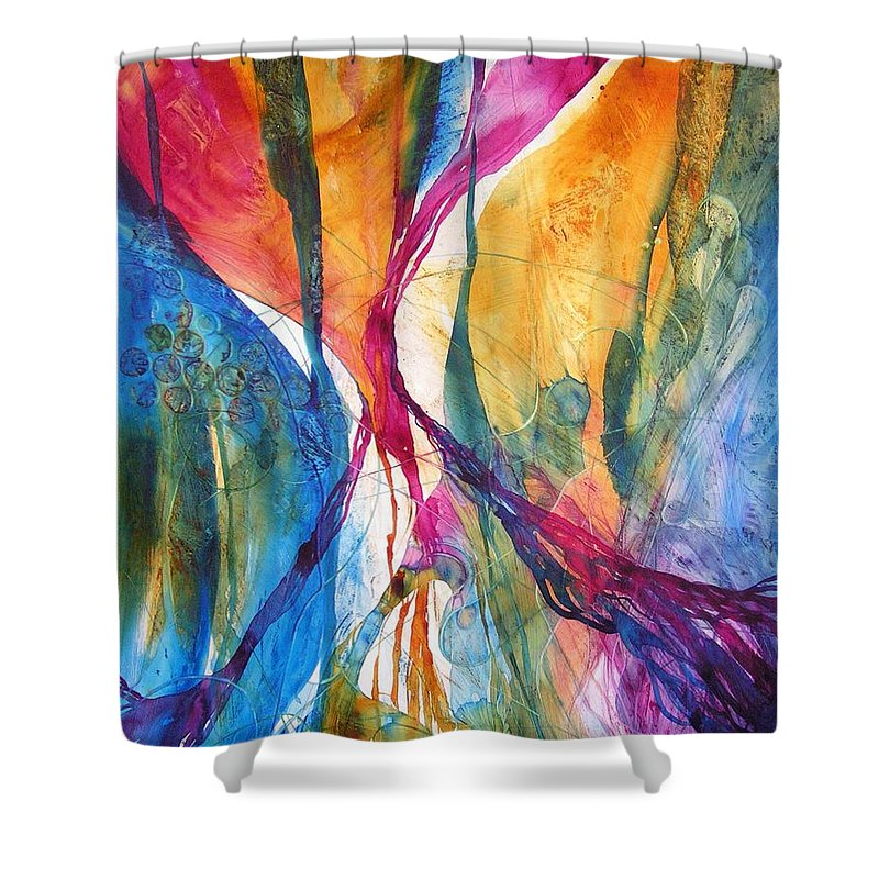 Mulicolored Shower Curtain featuring the painting Canyon Sunrise by Annika Farmer