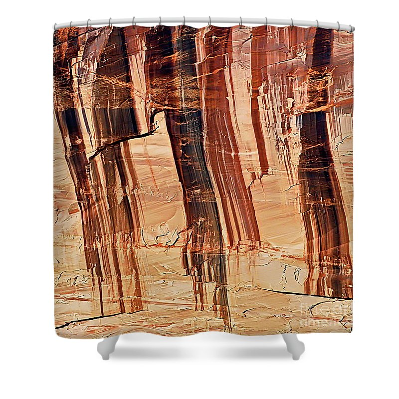 Digital Color Photo Shower Curtain featuring the photograph Canyon Textile Design by Tim Richards
