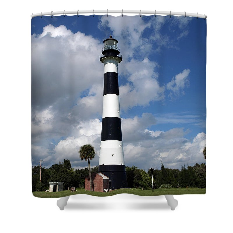 Lighthouse; Light; Canaveral; Cape; Cape Canaveral; Ccafs; Florida; East; Coast; Kennedy; Space; Cen Shower Curtain featuring the photograph Cape Canaveral Light Florida by Allan Hughes