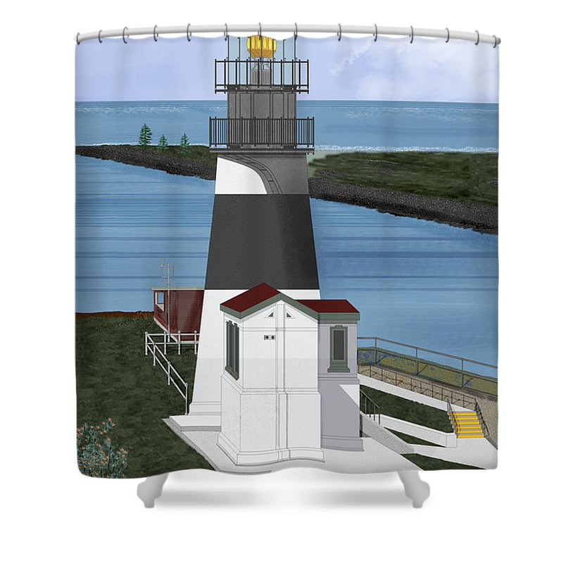 Lighthouse Shower Curtain featuring the painting Cape Disappointment At Fort Canby Washington by Anne Norskog