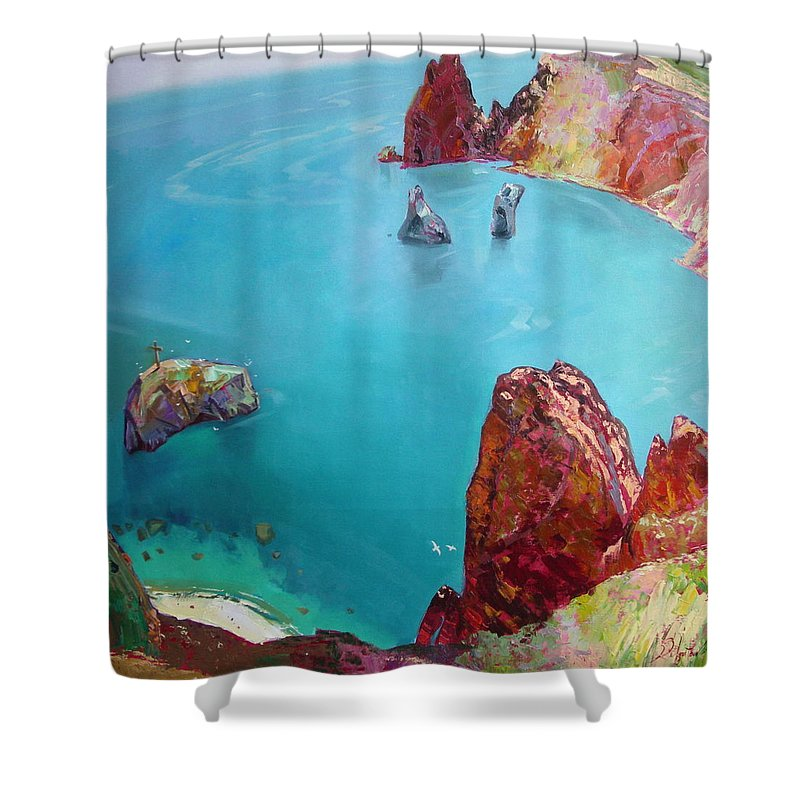 Ignatenko Shower Curtain featuring the painting Cape Fiolent by Sergey Ignatenko