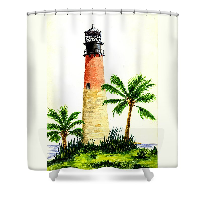 Lighthouse Shower Curtain featuring the painting Cape Florida Lighthouse by Michael Vigliotti