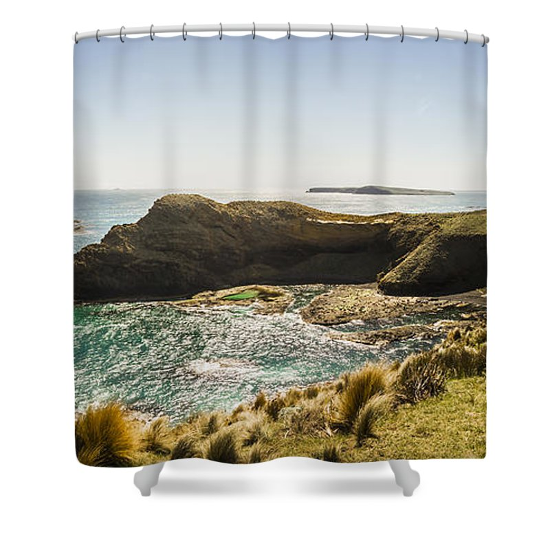 Tasmania Shower Curtain featuring the photograph Cape Grim Cliff Panoramic by Jorgo Photography - Wall Art Gallery