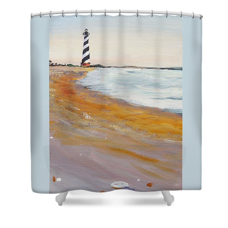 Cape Hatteras Shower Curtain featuring the painting Cape Hatteras Lighthouse by Anne Marie Brown