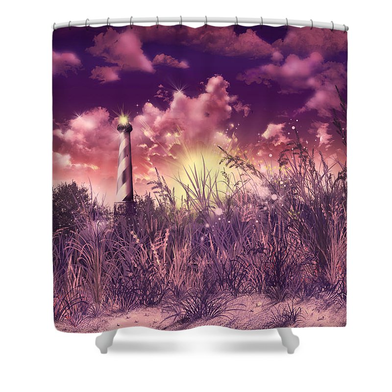 Cape Hatteras Shower Curtain featuring the painting Cape Hatteras Lighthouse by Bekim M