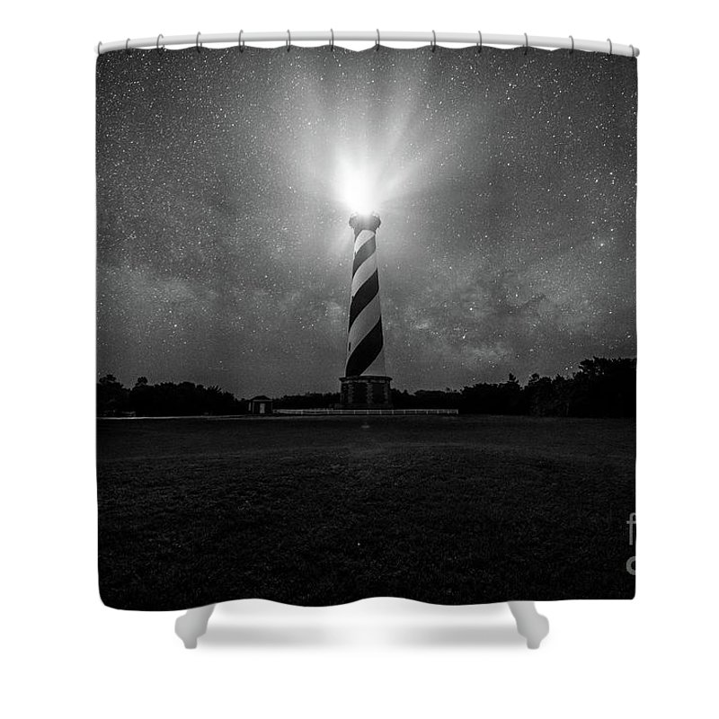 Space Shower Curtain featuring the photograph Cape Hatteras Light And The Milky Way Galaxy by Robert Loe