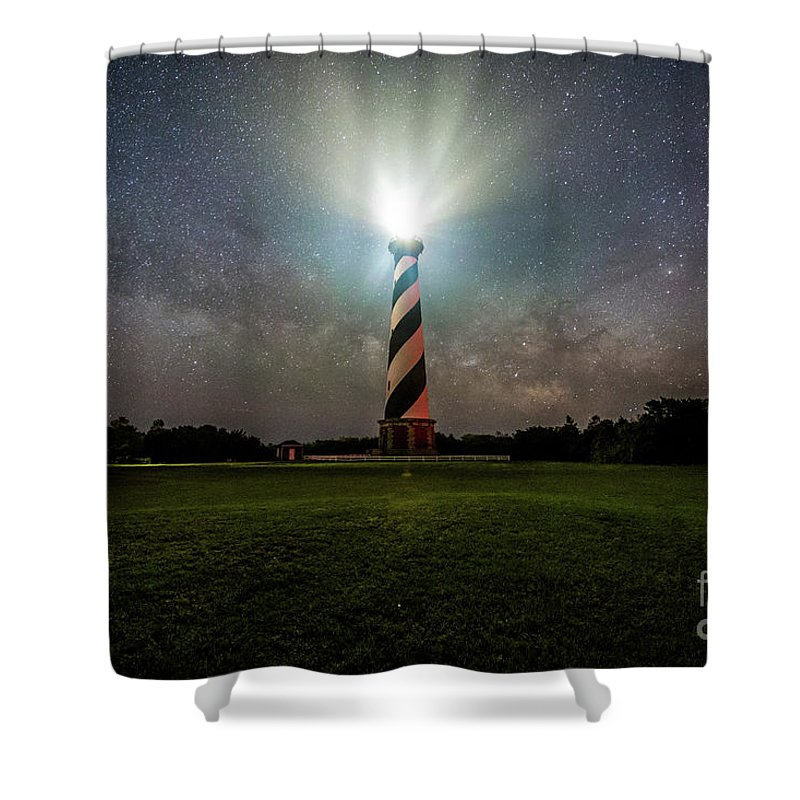 Space Shower Curtain featuring the photograph Cape Hatters Light House Stars by Robert Loe