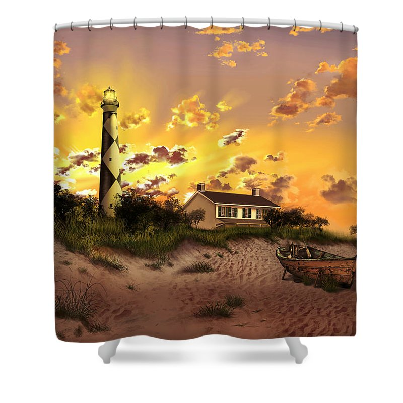 Lighthouse Shower Curtain featuring the painting Cape Lookout Lighthouse 2 by Bekim M