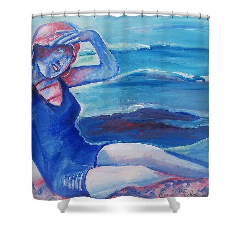 Beach Shower Curtain featuring the painting Cape May 1920s Girl by Eric Schiabor