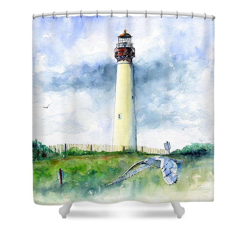 Lighthouse Shower Curtain Featuring The Painting Cape May By John D Benson