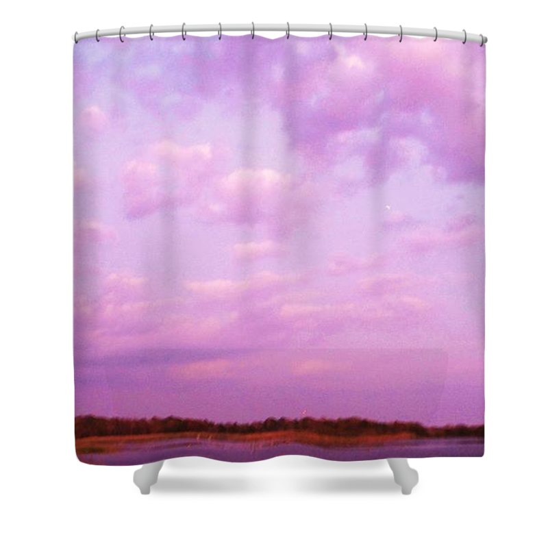 Cape May Point Nj Shower Curtain featuring the painting Cape May Point State Park Lanscape And Clouds by Eric Schiabor