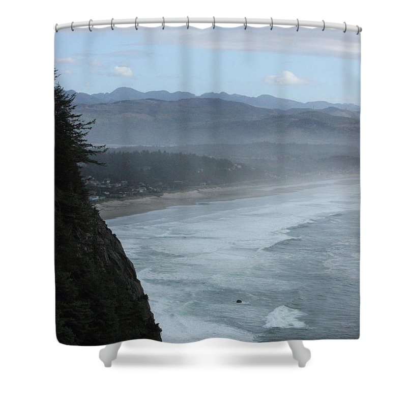 Cape Meares Shower Curtain featuring the photograph Cape Meares Coastline by Tanya Shockman