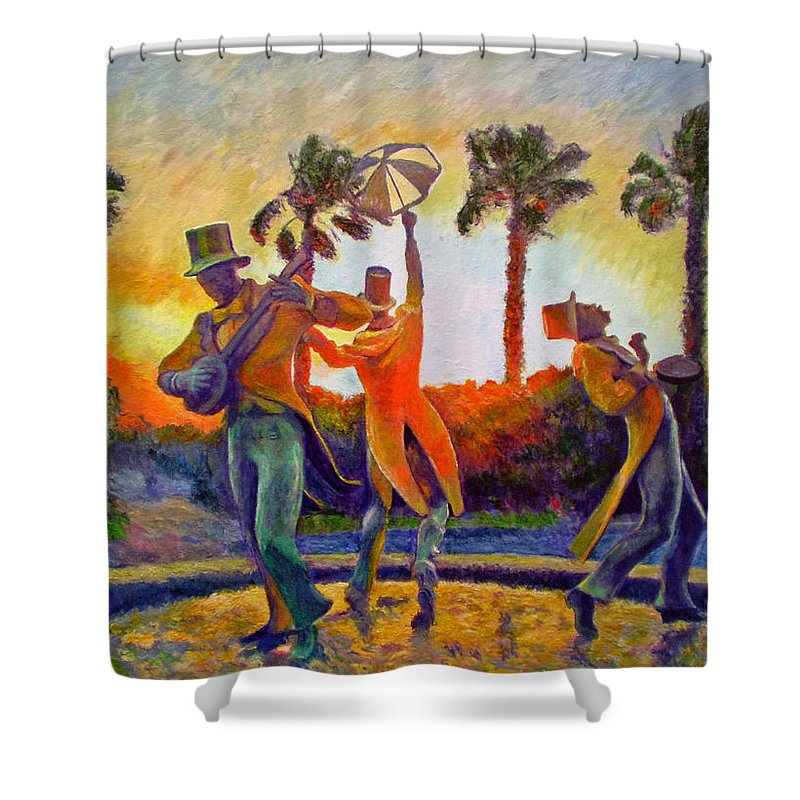 Sunset Shower Curtain featuring the painting Cape Minstrels by Michael Durst