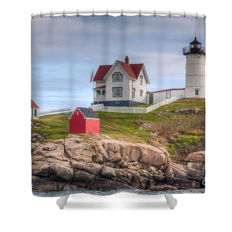 America Shower Curtain featuring the photograph Cape Neddick Nubble Lighthouse I by Clarence Holmes