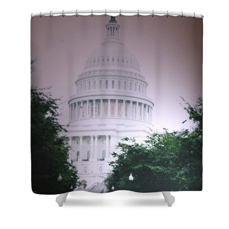 Capitol Shower Curtain featuring the photograph Capitol In Pink by Pharris Art