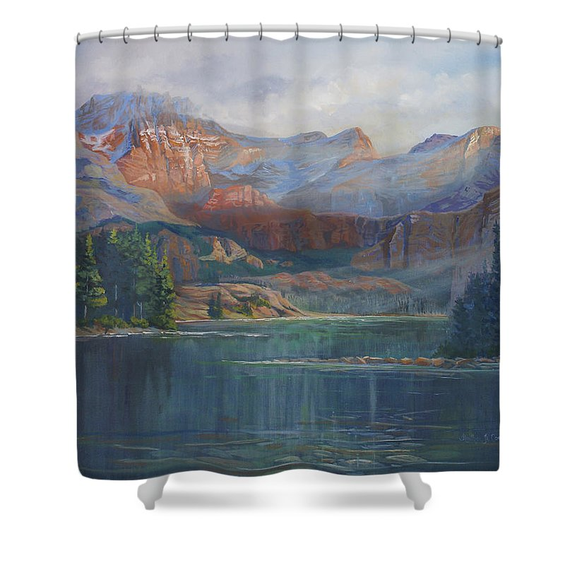 Capital Peak Shower Curtain featuring the painting Capitol Peak Rocky Mountains by Heather Coen