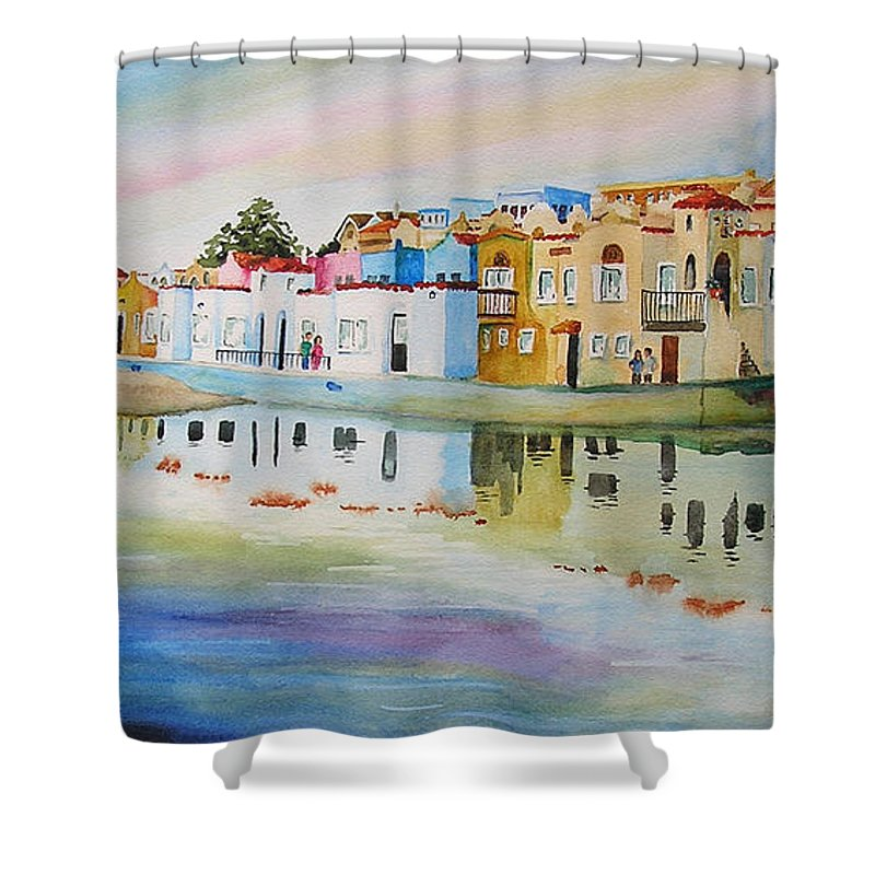 Capitola Shower Curtain featuring the painting Capitola by Karen Stark