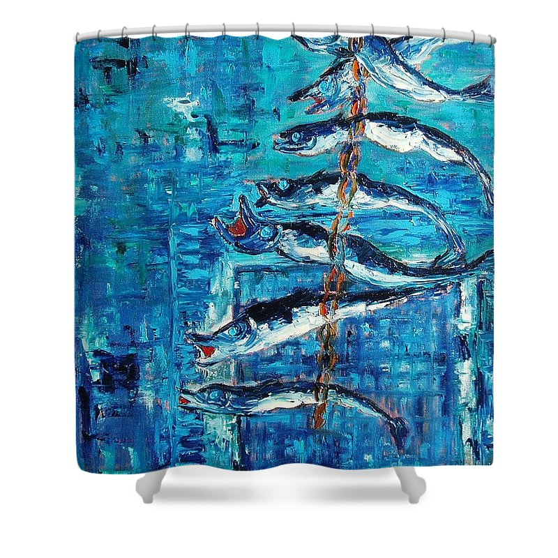 Fish Painting Shower Curtain featuring the painting Caplin by Seon-Jeong Kim