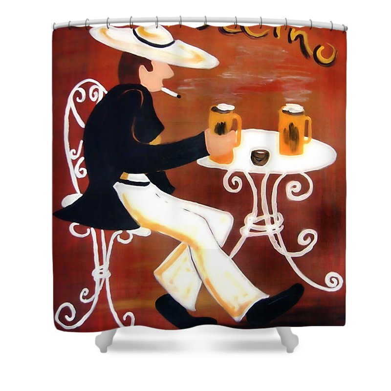 Cappuccino Shower Curtain featuring the painting Cappuccino by Helmut Rottler