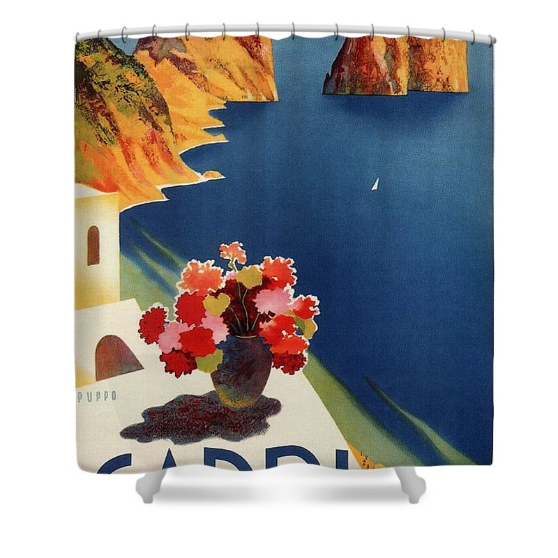 Capri Shower Curtain featuring the mixed media Capri Island, Bay Of Naples, Italy - Retro Travel Poster - Vintage Poster by Studio Grafiikka