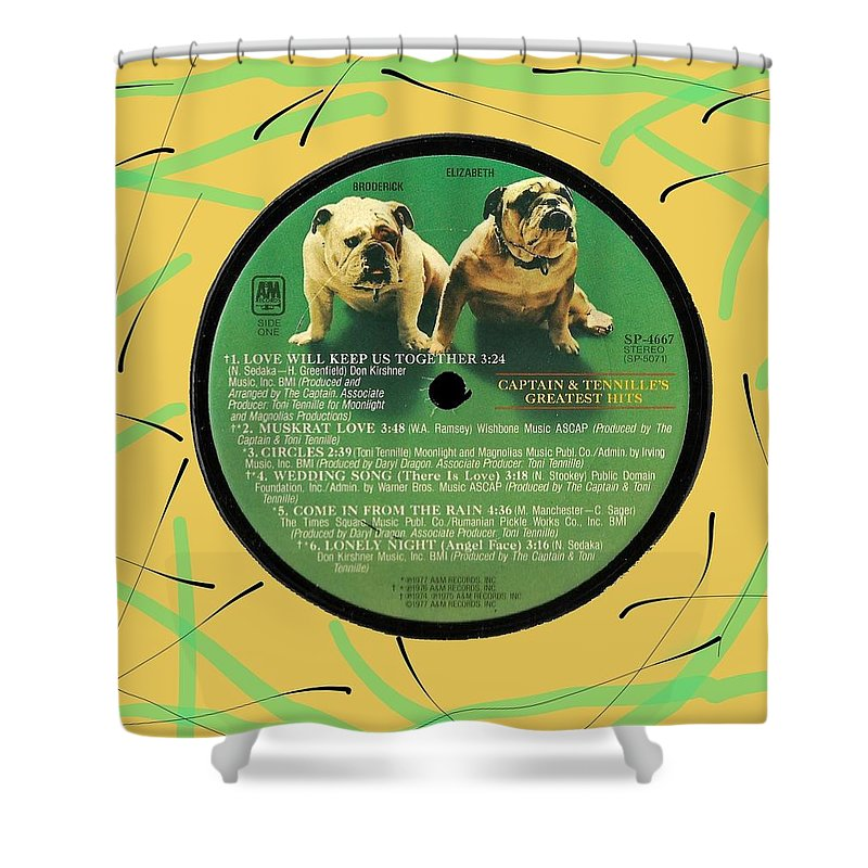 Captain And Tennille Shower Curtain featuring the digital art Captain And Tennille Greatest Hits Lp Label by Doug Siegel