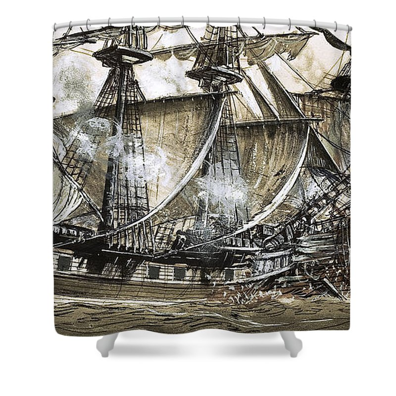 Galleon Shower Curtain Featuring The Painting Captain Maynards Sloop Bore Down On Pirate Ship By