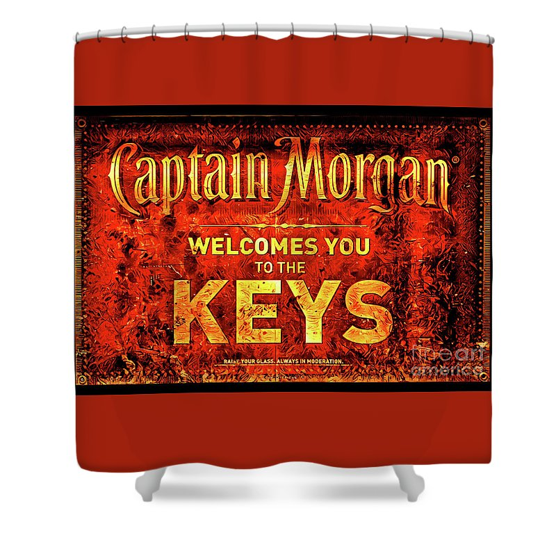 Captain Morgan Shower Curtain featuring the photograph Captain Morgan Welcome Florida Keys by John Stephens