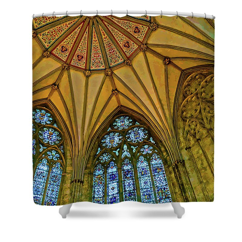 Ceiling Shower Curtain featuring the digital art Chapter House Ceiling, York Minister by Brian Shaw