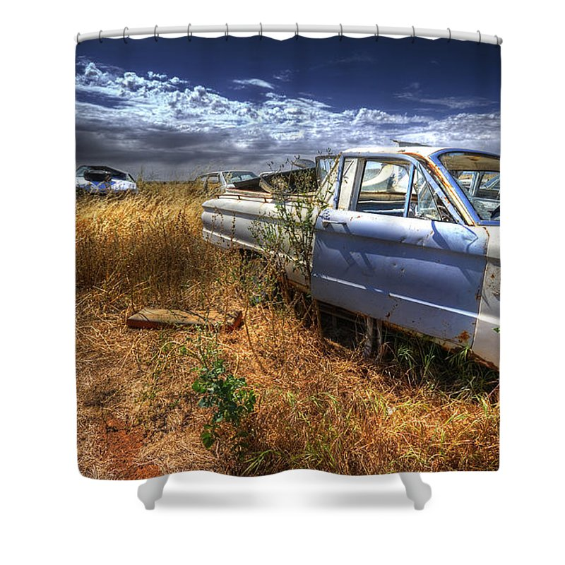 Cars Shower Curtain featuring the photograph Car Graveyard by Wayne Sherriff