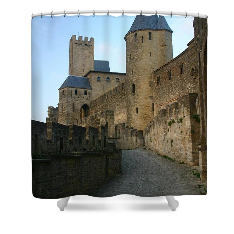 Castle Shower Curtain featuring the photograph Carcassonne Castle by Minaz Jantz