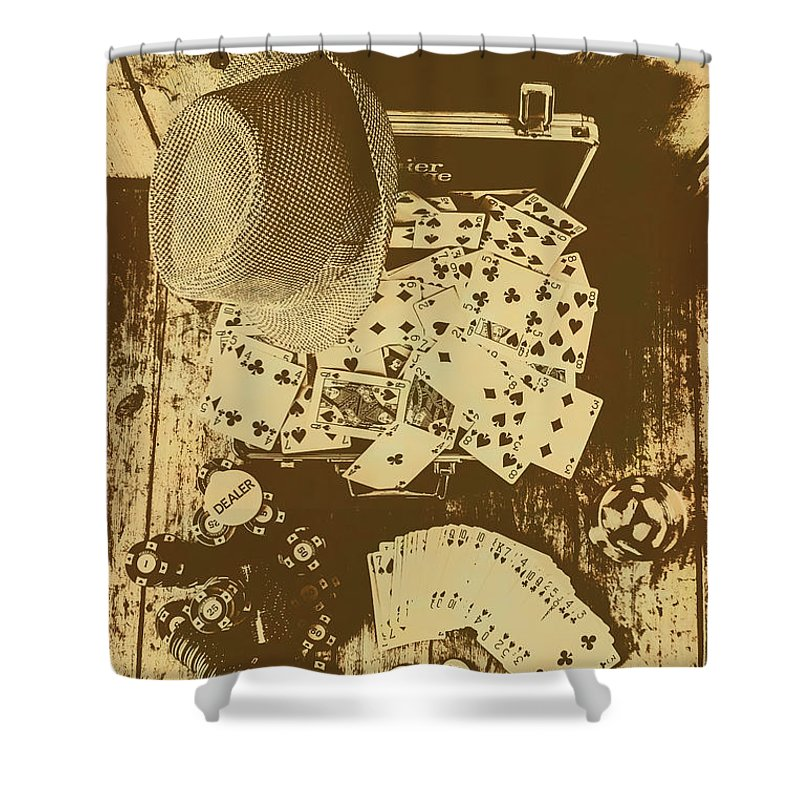 Vintage Shower Curtain featuring the photograph Card Games And Vintage Bets by Jorgo Photography - Wall Art Gallery