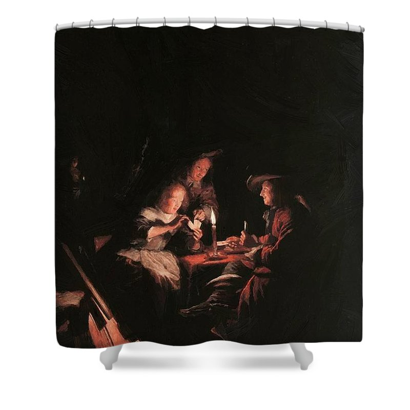 Card Shower Curtain featuring the painting Card Players At Candlelight by Dou Gerrit