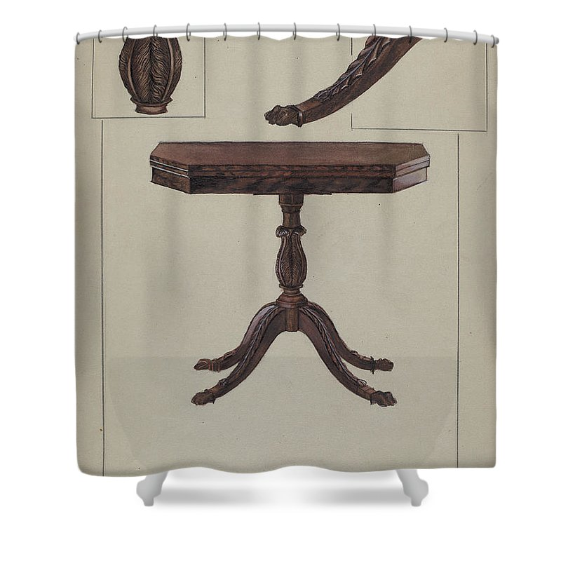Shower Curtain featuring the drawing Card Table by Bessie Forman