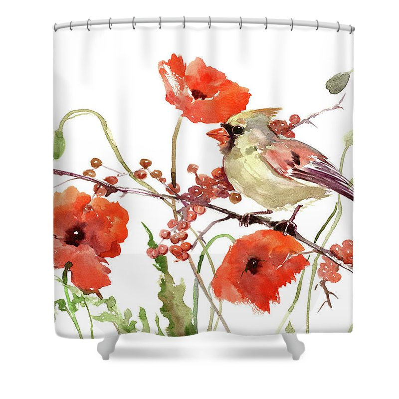 Cardinal Shower Curtain Featuring The Painting Bird And Poppies By Suren Nersisyan