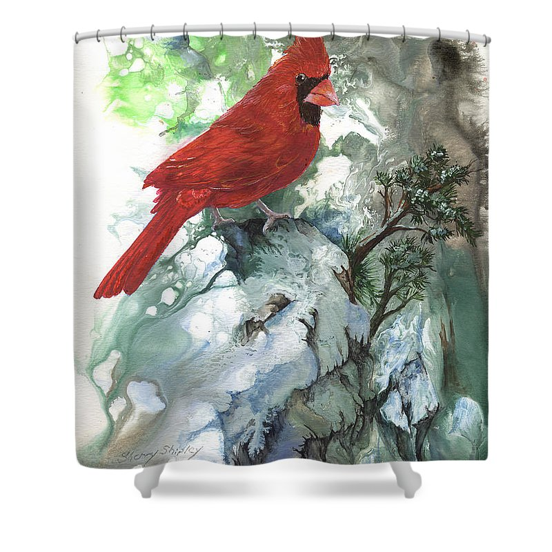 Bird Shower Curtain featuring the painting Cardinal by Sherry Shipley