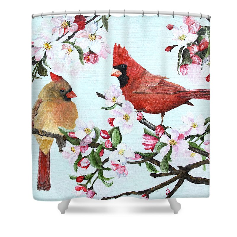Winter Solitude Christmas Cardinal On Branch Polyester Fabric Shower Curtain