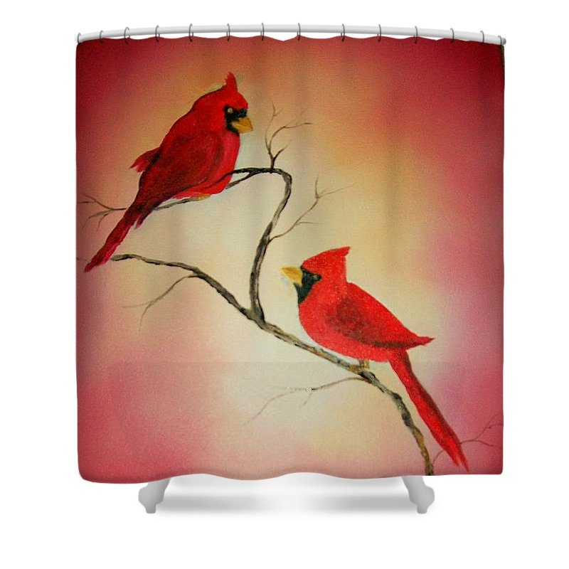 Cardinals Shower Curtain featuring the painting Cardinals At Sunset by Leo Gordon