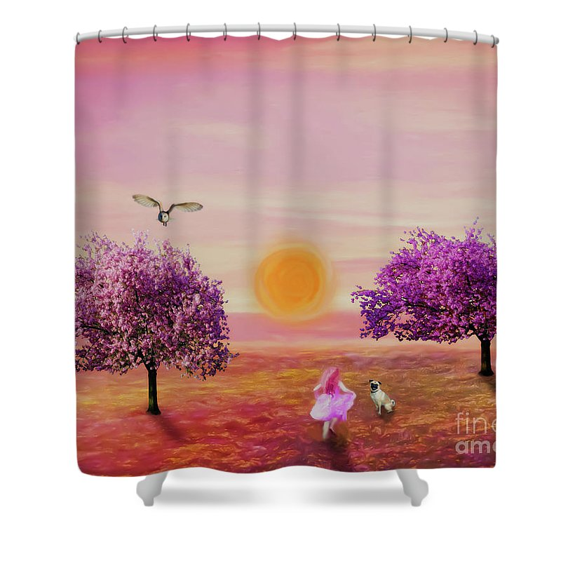 Landscape Shower Curtain featuring the painting Carefree Childhood Days by KaFra Art