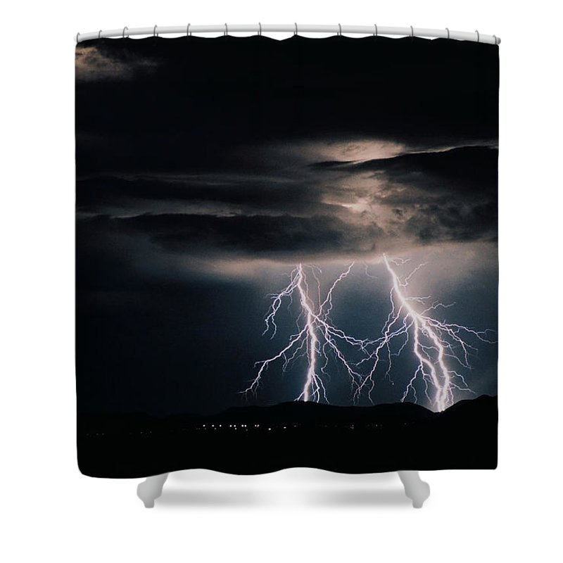 Arizona Shower Curtain featuring the photograph Carefree Lightning by Cathy Franklin